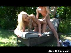 Busty blonde gets fucked outside by the pool and does it doggy style