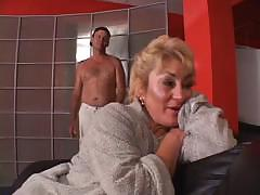Mature sucks on a hard cock and then gets drilled in the pussy