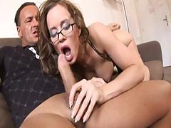 Cindy Dollar sucks on a dick or two and gets double penetration