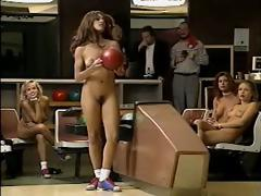 Jacqueline Lovell and other busty babes go bowling in the nude