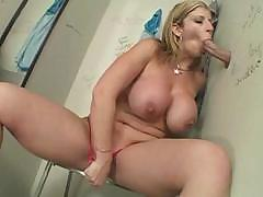 Sara Jay is a hot chunky babe who sucks a dick through a glory hole