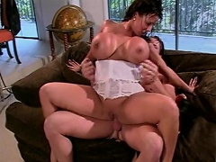 Look at this crazy brunette bitch with such huge melons as she takes...