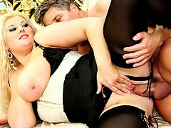 MILF hot ass tames hard cock and squeezes it in her fat tits...