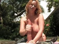 Naturally Busty Strawberry Blonde Sluts Outdoors