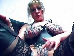 German chick gets dressed up in kink outfit - Sascha Production
