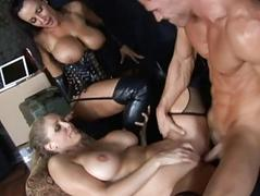 Blonde and brunette milfs getting their pussies fucked
