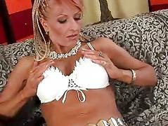 Mature Regina gets a load on her chest