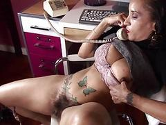 Brunette milf with huge ttis and hairy honey pot maturbating in office