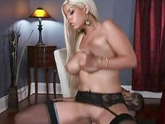 Dirty blonde with huge hooters rides on stiff rod