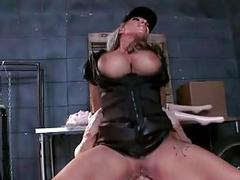 Busty cock sucking whore in police uniform riding on a horny guy