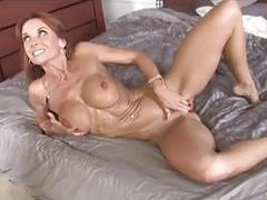 Skinny brunette milf with big tits gets covered with black dick's cum