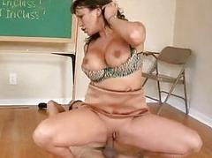 Brunette honey with huge tits rides stiff boner in classroom