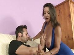 Brunette milf with big natural boobs gives big dick blowjob