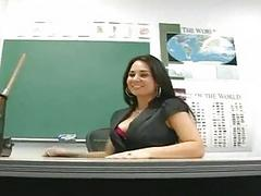 Classy brunette teacher masturbating in sexy black lingerie