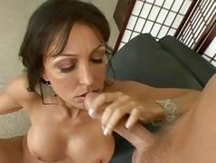 Tanned brunette with tight ass and big tits gets drilled doggy style
