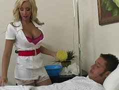 Sexy blonde teen with big tits gets horny and washing a patient