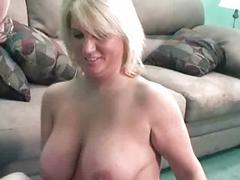 Blonde Alexis swallows a lucky geeks stiff cock