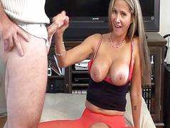 Whorish blonde milf in red stockings does blowjob