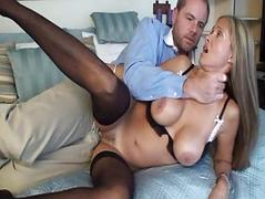 Whorish blonde milf in sexy black underwear gives her hubby a blowjob