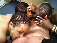 White Boss Orders In Three Black Hookers scene