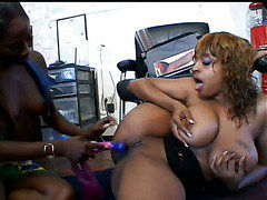 Two Horny Black Girls India And Carmen Hayes And One Toy scene