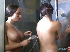 Carmen Moore and Mia Isabella taking a hot shower together