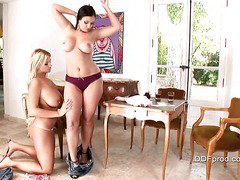 Ines Cudna and Aria Giovanni teasing you with their big tits