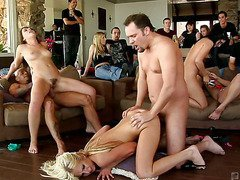 Big tited Beverly Hills in orgy scene