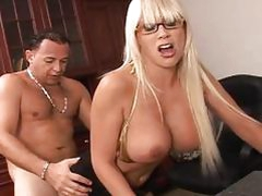 Amazing big tits belle riding a stiff pecker