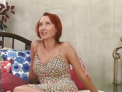 Redhead with great titts loves to stuff her pussy with a nice dildo