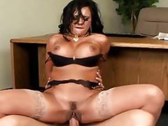 Sexy brunette milf get a dick behind on a table