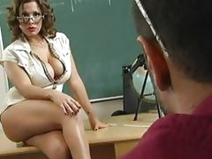 Stunning busty brunette teacher getting her cunt licked