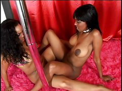 Black girls lesbian dildo action on sofa