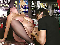 A barmaid to be nailed right in the bar