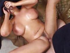 Big titted woman takes on two cocks - Pt. 2/4