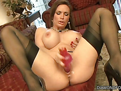 Diamond Foxxx Spends Time with One of Her Toys