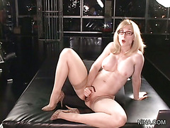 Lesson #35 - Nina Hartley Solo, Wet on Black with Toys