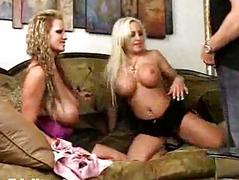 Two busty blondes fuck in hardcore threesome orgy