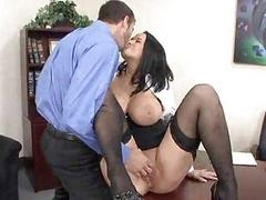 Busty brunette in black stockings gets boobs fondled and ass fucked