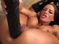 Cheyenne taking two thick dildos