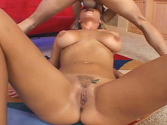 Blonde swallowing dick
