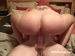 Fake boob wife riding cock