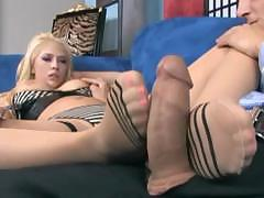 Kagney in sheer seamed stockings giving footsex and fucking