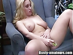 Busty Cheri on hot striptease and toying action
