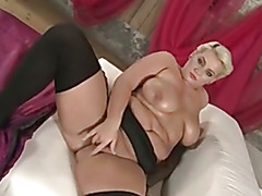 I am Pierced - BBW blonde ins tockings w shaved pussy