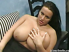 Aneta and her tits on glass table