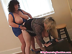 Leah-Jayne and Kim with a Black Strap-On