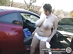 Big boobs geek girlfriend outdoors in lingerie fingering wet