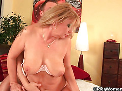 Horny grandma gets her pussy fisted by guy half her age