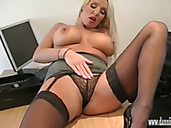 Horny blonde secretary teasing in nylon and rubbing her clit